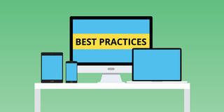 Best practice practices illustration with notebook smartphone multi platform Stock Image