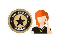 Best Practice premium icon with thumb up Stock Image
