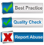 Best Practice Quality Check Report Abuse Royalty Free Stock Image