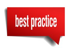 Best practice red 3d speech bubble. Best practice red 3d square isolated speech bubble Royalty Free Stock Photo