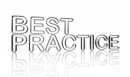 Best practice in silver wire. Best practice text - 3d isolated silver metal wire letters with reflection Royalty Free Stock Image