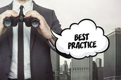 Best Practice text on blackboard with businessman Stock Photography