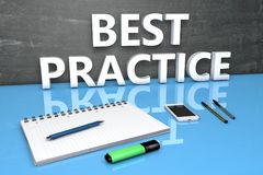 Best Practice text concept. Best Practice - text concept with chalkboard, notebook, pens and mobile phone. 3D render illustration Stock Photo