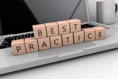 Best Practice text concept. Best Practice - wooden letters on notebook computer - 3d render illustration Stock Photo