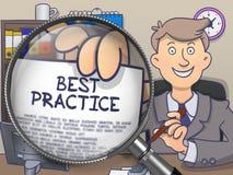 Best practice tramite la lente Concetto di scarabocchio Illustrazione Vettoriale
