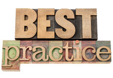 Best practice in wood type. Best practice - isolated words in vintage letterpress wood type Royalty Free Stock Image
