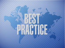 Best practice world map sign concept Stock Image