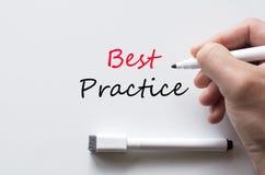 Best practice written on whiteboard. Human hand writing best practice on whiteboard royalty free stock photography