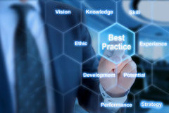 Best practices areas grid explained by businessman. Businessman touching a field in a hexagon grid with key factors of best practices Royalty Free Stock Photography