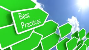 Best practices concept arrows and sunny blue sky Stock Photo