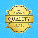 Best Premium Quality Golden Label Guarantee Award. Best premium quality golden label guarantee sticker award, vector illustration certificate label with crown Stock Images