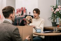 Woman is excited receiving a dog as a present. The best present ever. Woman is shocked and excited about receiving a dog as a present royalty free stock image
