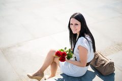 Best present  - woman with roses Royalty Free Stock Photo