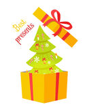 Best Presents Christmas Tree on White Background. Vector illustration of green fir tree decorated by toys inside yellow box with ribbon and beautiful bow Royalty Free Stock Image