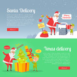 Best Presents of Santa Xmas Delivery on Postcard Stock Image