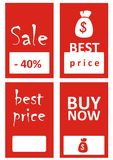 Best price. Tags with price and sale information Royalty Free Stock Photo