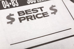 Best Price. Newspaper Sales ad,  Business concept Royalty Free Stock Photos
