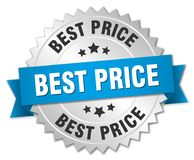 Best price. Silver badge with blue ribbon Stock Image