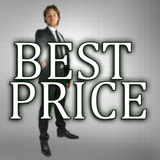 Best price. Businessman choosing Best price sign on virtual screen Royalty Free Stock Photography