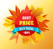 Best Price Buy Now -50 Promo Label Design Maple. Best price buy now -50 promo label design with maple leaves isolated on background with autumn foliage frame Royalty Free Stock Images