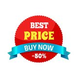 Best Price Buy Now -50 on Vector Illustration. Best price buy now -50 sticker that is used to attract people to some product, special offer on round red shape Stock Illustration