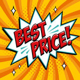 Best price - Comic book style word on a yellow background. Best price comic text speech bubble. Banner in pop art comic. Style. Color summer banner in pop art Stock Photography