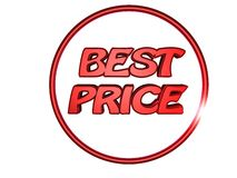 Best price. 3D best price in circle logo Stock Photos