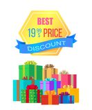 Best Price 19.99 Discount Emblem Label with Ribbon. And piles of gift boxes in color wrapping paper isolated on white background vector illustration Royalty Free Stock Image