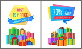 Best Price 19.99 Discount Special Exclusive Offer. Sale posters with piles of gift boxes wrapped in decorative color paper, vector banners 70 off stock illustration