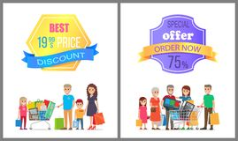 Best Price Discount Special Offer Order Now 75 Off. Promo label on poster with people making purchases, big family on shopping vector illustration vector illustration