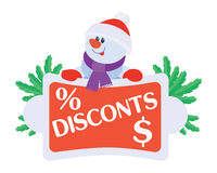 Best Price Discounts Snowman with Sale Poster Royalty Free Stock Image