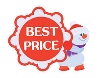 Best Price Discounts Snowman with Sale Poster Royalty Free Stock Photo