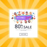 Best Price for Everyone Promotional Poster People. Best price for everyone promotional poster with happy customers, discount 80 vector illustration on yellow Stock Images