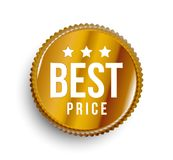Best price gold colored circle banner on white background. royalty free illustration