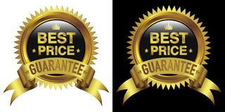 Best Price gold emblem with ribbon isolated white & black stock images