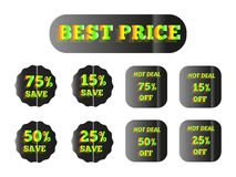 Best price green glow. Holographic stickers with the inscription best price green glow Stock Image