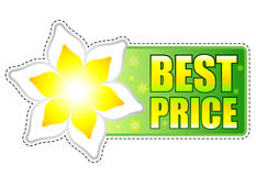 Best price green label with spring flower Royalty Free Stock Photo