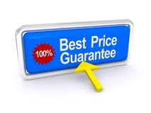 Best price guarantee sign. 100 percent best price button with directional arrow, white background stock illustration
