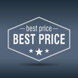 Best price hexagonal white retro style label Royalty Free Stock Photo