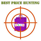 Best price hunting banner. Sales bag at gunpoint on the white background. Royalty Free Stock Photo