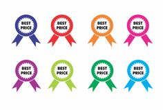 Best Price Icons round ribbons in different colors. Blue red orange pink violet green Stock Photo