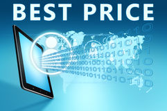 Best Price. Illustration with tablet computer on blue background Royalty Free Stock Photos