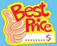 Best price label and show thumb Royalty Free Stock Image