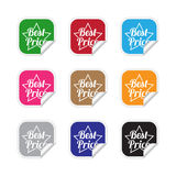 Best price labels. Collection of best price labels in various colors Royalty Free Stock Photography