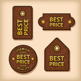 Best price leather labels Royalty Free Stock Images