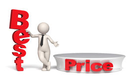 Best price offer with stage and copyspace - 3d man Royalty Free Stock Images