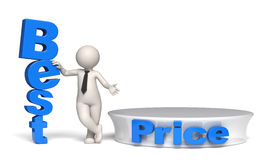 Best price offer with stage and copyspace - 3d man Royalty Free Stock Photography