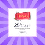 Best Price 25 Percent Off Sale Proposition Banner. Discount with button shop now, vector in online shopping concept. Special offer in store Stock Image