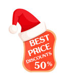 Best Price with Percent Sign Inside and Santa Hat Royalty Free Stock Image