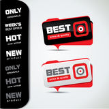 Best price promotional bubbles - red and black Royalty Free Stock Photos